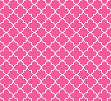 Pink And White Quatrefoil Pattern by destei