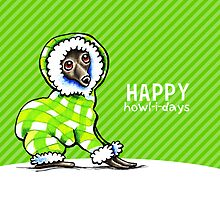 Italian Greyhound Snowsuit Happy Howl-i-days by offleashart