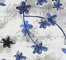 Vintage floral print Chinoiserie blossoms by bardenne