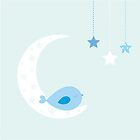 Baby bird in the moon by Angela Thompson