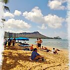 "Waikiki Beach, Diamond Head in Background, Honolulu, Oahu, Hawaii by Edmond J. [""Skip""] O'Neill"
