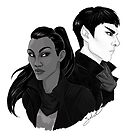 spock and uhura b&w by sabriiel