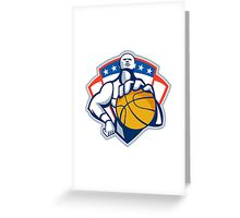 Basketball Player Holding Ball Crest Retro Greeting Card