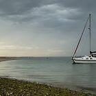 Catamaran at anchor by Judi Lion