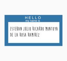 Hello My Name Is: Esteban Julio Ricardo Montoya De La Rosa Ramirez by Natalie Schweitzer