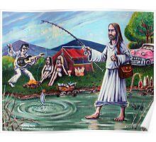 'ELVIS & JESUS CAMPING'  Poster
