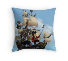 cartoon-animal-pirate-ship-martin-davey Throw Pillow
