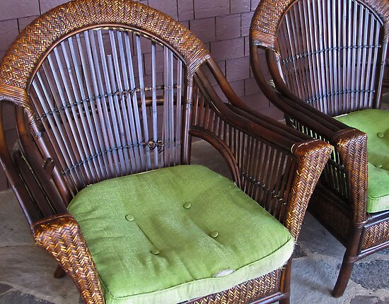 old rattan chairs by David Chesluk