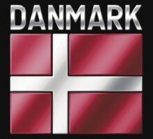 Denmark - Danish Flag & Text - Metallic by graphix