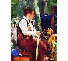Woman Spinning Yarn at Flea Market Photographic Print