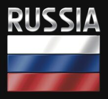 Russia - Russian Flag & Text - Metallic by graphix