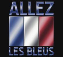 Allez Les Bleus - French Flag & Text - Metallic by graphix