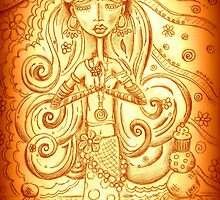 Orange Yoga Gypsy – Whimsical Folk Art Girl in Namaste Pose  by erica lubee  ~ SkyBlueWithDaisies