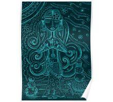 Blue Yoga Gypsy – Whimsical Folk Art Girl in Namaste Pose Poster