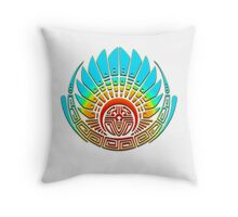 Mayan mask, crop circle, Quetzalcoatl Throw Pillow