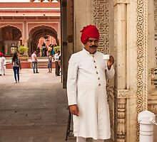 A guard in traditional attire at fort Amer by kumarrishi