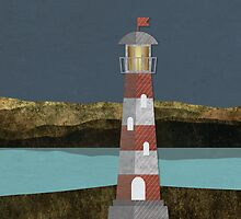 Nighttime Lighthouse by Carolina Medberg Smith