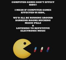 PAC MAN COMPUTER GAMES ELECTRONIC EATING PILLS WHITE T-Shirt