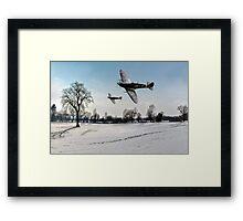 Boys will be boys: low-flying Spitfires Framed Print