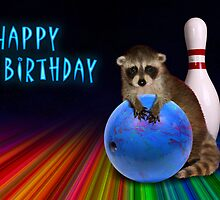 Bowling Birthday Raccoon by jkartlife