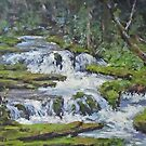 "Original Acrylic ""Forest Creek"" Landscape Painting by Karen Ilari"