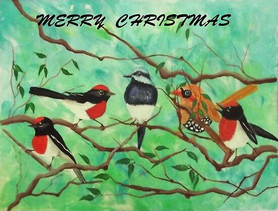 CHRISTMAS JOY BIRDS by jansimpressions