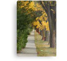 Transcona Sidewalk in Fall Metal Print