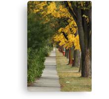 Transcona Sidewalk in Fall Canvas Print