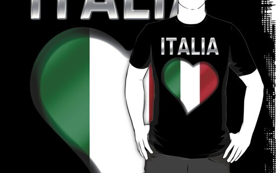 Italia - Italian Flag Heart & Text - Metallic by graphix