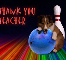 Thank You Teacher Bowling Sheltie Puppy by jkartlife