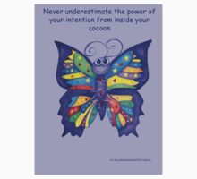 Yoga Butterfly in Namaste (purple background inspirational text) Kids Clothes