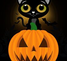 Black Kitten & Jack O Lantern by Adamzworld