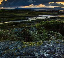 Panoramic View of the Isle's of Eigg & Rum from Arisaig, Scotland by batousan