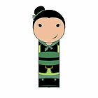 Warrior Mulan Kokeshi Doll by mimiboo