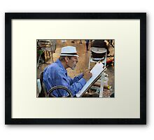 The cartoonist at Piazza Navona Framed Print