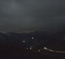 Driving at Night: Berthoud Pass 2 by Audrey Farber