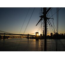 New York City Sunrise - Tall Ships and Brooklyn Bridge  Photographic Print