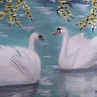 Swans on Pond by KatPoon