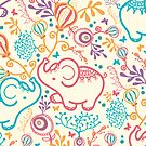 Elephants with bouquets pattern by oksancia