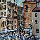 Watercolor Sketch - Genève, Old Town, Cour de Saint Pierre by Igor Pozdnyakov