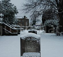 Headstone in the Snow by justbmac