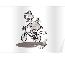 Bear on bike with Fox and Bird Poster