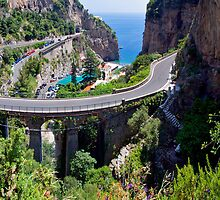 Amalfi Coast Road Panorama by Adrian Alford Photography