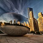 Chicago's Cloudgate with pretty cirrus clouds by Sven Brogren