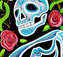 Blue Skull N Roses by Laura Barbosa