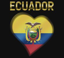 Ecuador - Ecuadorian Flag Heart & Text - Metallic by graphix