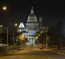 Austin Images - The Texas State Capitol at Night looking South by RobGreebonPhoto