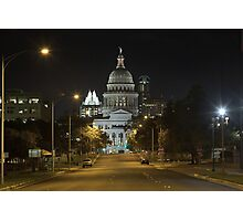 Austin Images - The Texas State Capitol at Night looking South Photographic Print