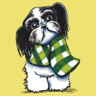 Black & White Shih Tzu Happy Plaid Scarf by offleashart