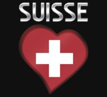 Suisse - Swiss Flag Heart & Text - Metallic by graphix